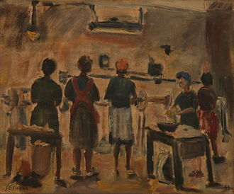 Soshana Afroyim - Workers in a New York sweatshop, painted by Soshana, 1944
