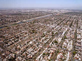 Wrigley Neighborhood, Long Beach, California - The Wrigley neighborhood of Long Beach, California. Willow Street runs from the right side of the photo, through the center of the neighborhood, to the bridge crossing the Los Angeles River on the left.