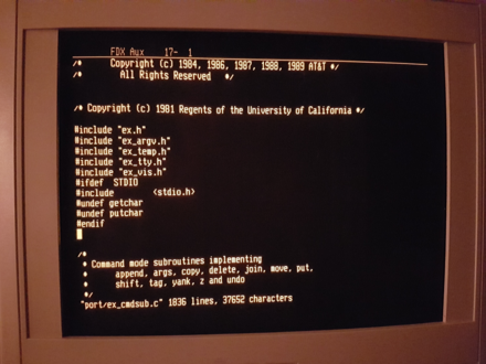 "The vi editor has a number of revisions; however, the primary purpose was to allow a user to enjoy the full ""visual"" screen mode of modern terminals. XPG6 vi editing its own source code on a serial terminal.png"
