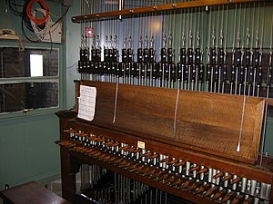 Harkness Tower - The console from which the Yale Memorial Carillon is played.