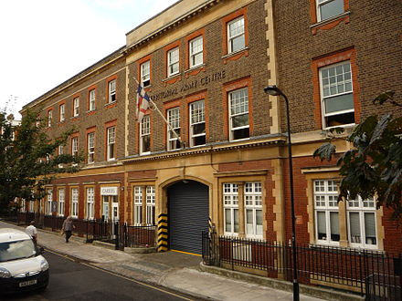Yeomanry House in Handel Street is the home of London UOTC. The flag seen flying is the University of London coat of arms. Yeomanry House, Handel St, London.jpg