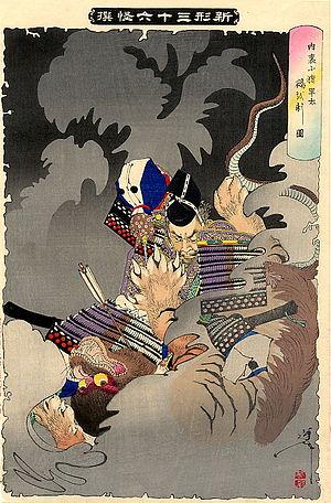 Nue - From the Shinkei Sanjūrokkaisen: Ino Hayata and the Nue (猪早太と鵺) by Tsukioka Yoshitoshi