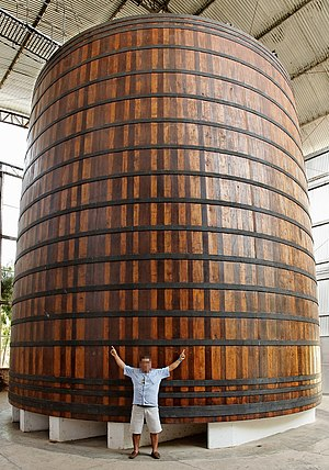Ypióca Group - One of the largest wood barrel in the world: 8 m tall, 7.85 m wide, capacity of 374,000 liters (98,800 US gallons), made in 2002.