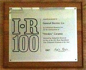 Transparent ceramics - IR 100 Award, Yttralox, 1967