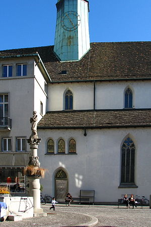 Augustinerkirche Zürich - Augustinerkirche at Münzplatz in Zürich as seen from Augustinergasse