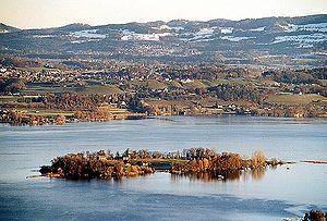 Canton of Zürich - Lake Zürich and the island of Ufenau, the largest in Switzerland