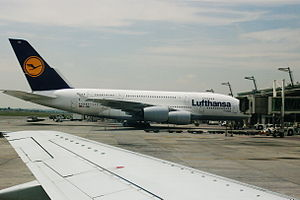 O. R. Tambo International Airport - Lufthansa Airbus A380-800, disembarking, February 2011