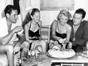Nora Eddington - Aboard the Zaca during filming of The Lady from Shanghai, Errol Flynn, Nora Eddington, Rita Hayworth and Orson Welles celebrate Hayworth's birthday (October 1946)