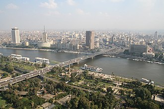 6th October Bridge - The 6th October Bridge, with Gezira Island in foreground, the Nile, and Downtown Cairo in background.