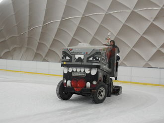 Ice resurfacer - The Zamboni ice resurfacer at work in Gdańsk.