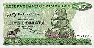 Banknotes of Zimbabwe - Image: Zimbabwe $5 1980 Obverse