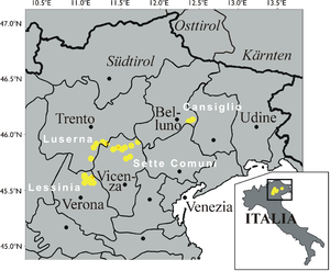 Sette Comuni - Map of north-east Italy showing the location of the Sette Comuni