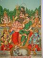 """Panch Dev"" (Five Gods), in a Shiva-centric version; bazaar art, c.1910's.jpg"