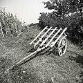 """""""Premca"""", tipičen dvokolesni voziček za prevoz futra za prašiče (v ruhi), pri Jernejevih, Lozice 1958.jpg"""