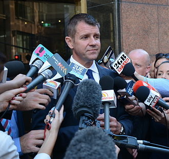 Mike Baird - Baird at the official reopening of the Lindt Café, Martin Place, Sydney, March 2015.