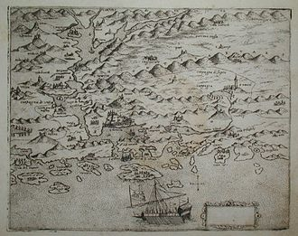Šibenik - Early 16th century map of Šibenik by Martino Rota.