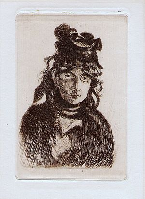 Berthe Morisot with a Bouquet of Violets - Image: Édouard Manet Portrait de Berthe M. original etching