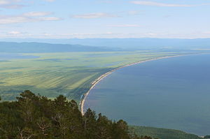 Zabaykalsky National Park - View Chivyrkuisky Isthmus and Barguzin Bay from the top of the Holy Nose