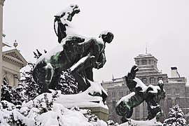Horse statues covered by snow