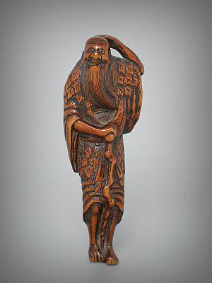 Sennin - Sennin with his staff, carver Jobun, 18th century, wood, height 80 mm