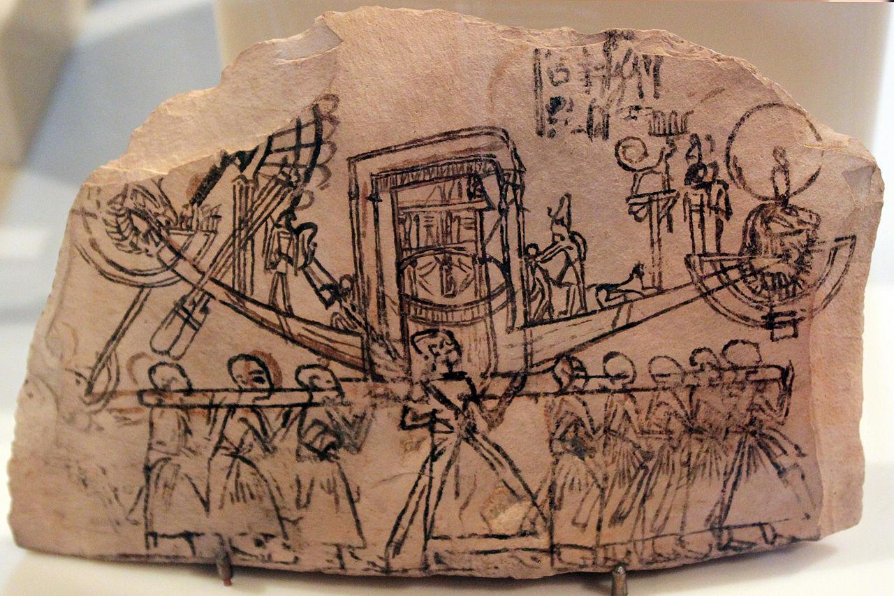 Procesión con la barca sagrada de Amón. Ostracon, Dinastía X 1280px--1230_Ostrakon_mit_G%C3%B6tterprozession_anagoria