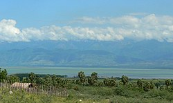 South shore of Lake Enriquillo, looking northward to the Sierra de Neiba