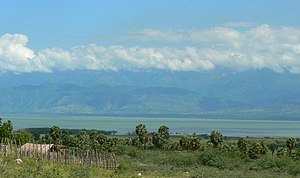 Lake Enriquillo - South shore of Lake Enriquillo, looking northward to the Sierra de Neiba mountains; Independencia Province, Dominican Republic