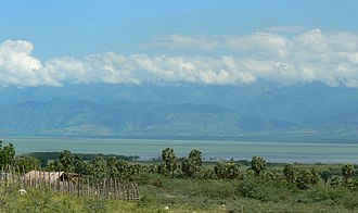 Independencia Province - South shore of Lake Enriquillo, looking northward to the Sierra de Neiba mountains, Independencia Province, Dominican Republic (2007)