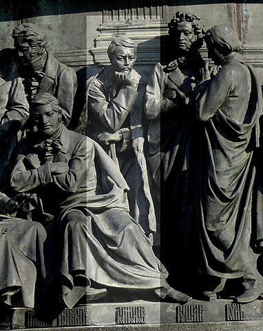 Лермонтов на памятнике «Тысячелетие России» в Великом Новгороде.