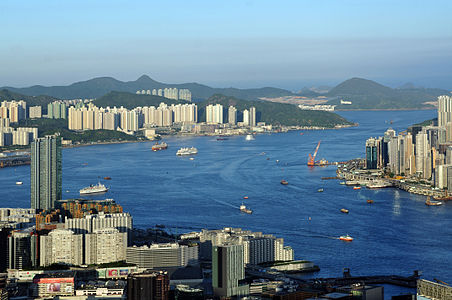 Hong Kong Harbour, view to east at evening