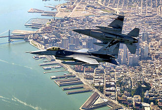 Western Air Defense Sector - California Air National Guard 144th Fighter Wing F-16s Falcons over San Francisco Bay.