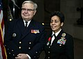 151210-N-NB178-089 French Chief of Staff Adm. Bernard Rogel stands by Vice Chief of Naval Operations Adm. Michelle Howard after presenting her with the Legion d'Honneur Award at the Crypt of John Paul Jones in the main chapel of the.JPG