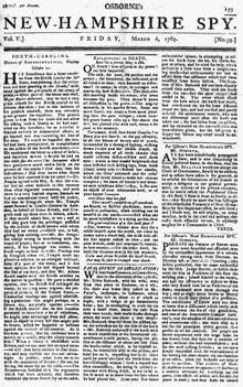 List of newspapers in New Hampshire in the 18th century