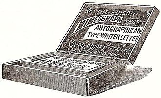 Mimeograph - Image: 1889 Edison Mimeograph