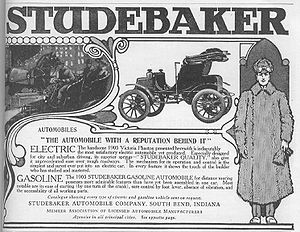Association of Licensed Automobile Manufacturers - 1905 Studebaker advertisement claiming (at the bottom) Association of Licensed Automobile Manufacturers membership