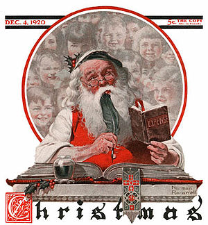 The Saturday Evening Post - Image: 1920 12 04 Saturday Evening Post Norman Rockwell cover Santa and Expense Book no logo 400 Digimarc