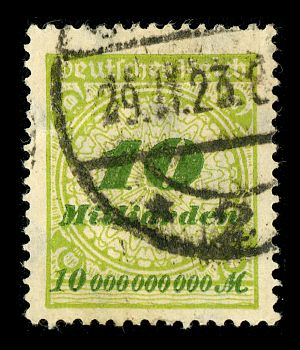 Long and short scales - 10 Milliarden Mark (1010 mark) stamp