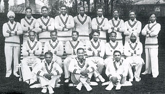 Sorabji Colah - Sorabji Colah is seen sitting on ground in the middle in this photo of 1932 Test team captained by Maharaja of Porbandar, that toured England.