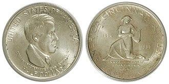 Cleveland Centennial half dollar - The Cincinnati Musical Center half dollar, Melish's other coin.