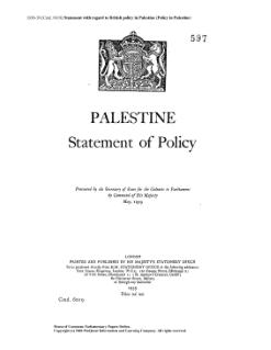 White Paper of 1939 A British policy document about Palestine