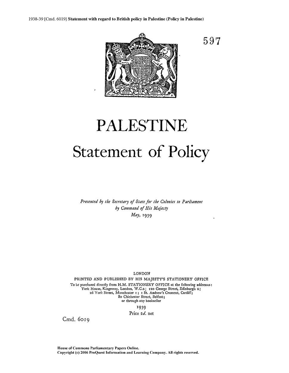 1939 White Paper cmd 6019.djvu