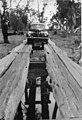 1940 Ford V-8 or Mercury car crossing Woolooma-Balpool bridge - Deniliquin, NSW, 1930 by Garry Daly (6861066222).jpg