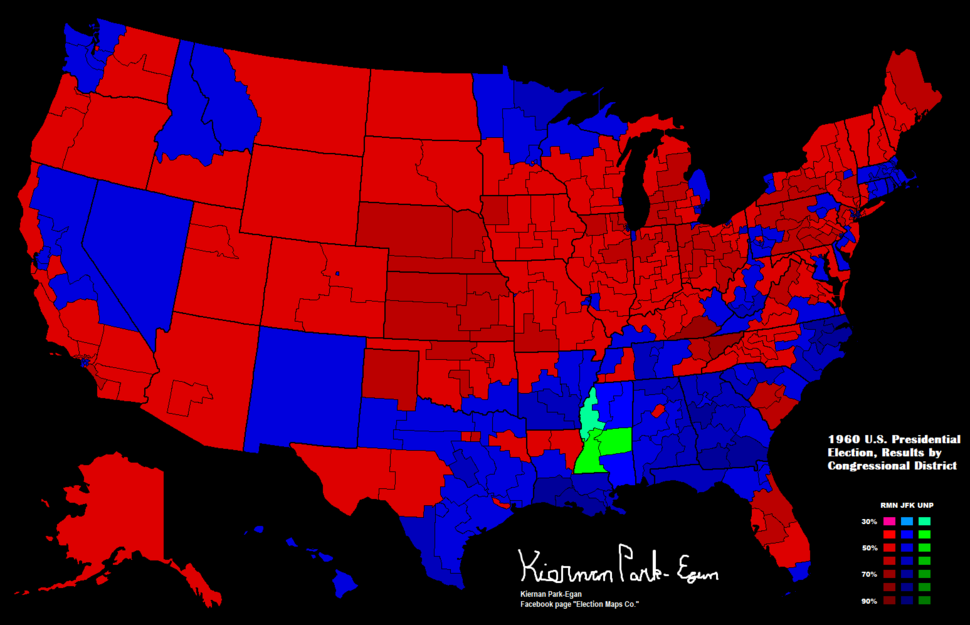 1960 Presidential Election in the United States, Results by Congressional District