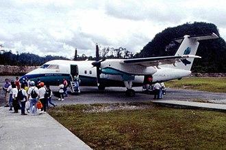 Gunung Mulu National Park - A plane at the Mulu Airport in 1996.
