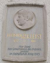 Gedenktafel am Ort des Geburtshauses in Frankfurt (Oder) (Quelle: Wikimedia)