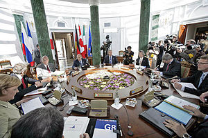 32nd G8 summit - Heads of delegations in a working session