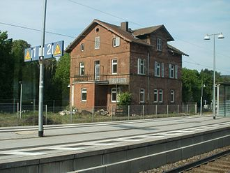 Hochspeyer station - Former auxiliary building in the western railway station area