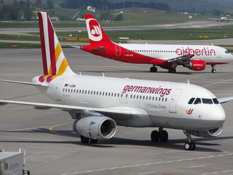 Low-cost carrier - Airbus A319 of Germanwings and an Airbus A320 of Air Berlin at Zurich Airport in 2013. Both carriers were among the largest budget airlines in Germany at the time the picture was taken.