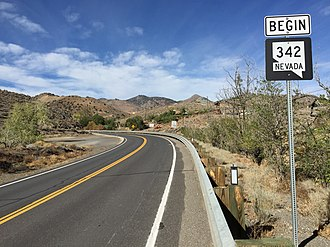 Nevada State Route 342 - View from the south end of SR 342 looking northbound