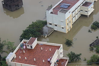 2015 South Indian floods - Aerial view of flood-hit areas of Chennai